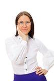 Insegnante in grandi vetri sopra priorità bassa bianca immagini stock
