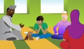Insegnante musulmano in una moschea Immagine Stock