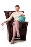 Insegnante rigoroso che si siede in poltrona Fotografia Stock Libera da Diritti