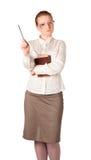 Insegnante rigoroso con il grande libro Immagine Stock Libera da Diritti
