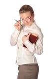 Insegnante rigoroso con il libro e la penna Fotografia Stock Libera da Diritti