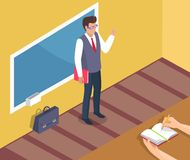 Insegnante Standing Near Blackboard sulla lezione di grammatica royalty illustrazione gratis