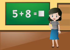 Insegnante Teaching Math in aula royalty illustrazione gratis