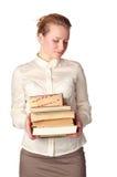 Insegnante timido con i libri Immagine Stock