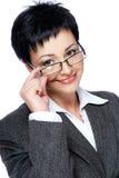 Insegnante in vestito grigio di affari Immagini Stock