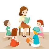 Insegnanti della donna che raccontano storia agli studenti illustrazione vettoriale