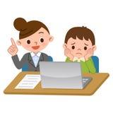 Insegnanti e studenti di apprendimento di computer Fotografie Stock