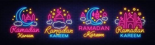 Insegne al neon della raccolta di Ramadan Kareem Insegna nello stile al neon, insegna luminosa di notte, celebrazione di vettore  illustrazione di stock