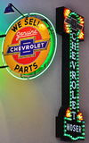 Insegne al neon di Chevrolet per l'invito fotografia stock libera da diritti