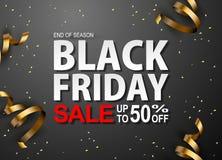 Insegne al neon di vettore di vendita nera di venerdì Illustrazione Immagini Stock