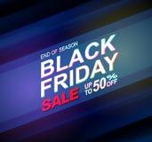 Insegne al neon di vettore di vendita nera di venerdì Illustrazione Fotografie Stock Libere da Diritti