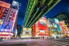 Insegne al neon e pubblicità del tabellone per le affissioni in Akihabara Fotografie Stock