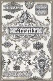 Insegne americane disegnate a mano ed etichette della pagina d'annata Fotografia Stock Libera da Diritti