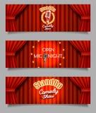 Insegne aperte di notte del mic della commedia in piedi di vettore illustrazione di stock