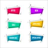 Insegne astratte di offerta del deposito Bolla variopinta con il testo di promozione Insieme del modello geometrico di promo Vett Fotografia Stock