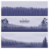 Insegne astratte orizzontali delle colline di legno di conifere nel tono blu scuro Fotografia Stock Libera da Diritti