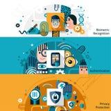 Insegne biometriche di autenticazione illustrazione vettoriale