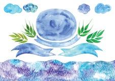 Insegne blu di vettore dell'acquerello, tema dell'acquerello della molla, Fotografia Stock