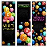 Insegne complesse di vettore delle pillole della multi vitamina illustrazione vettoriale