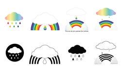 Insegne con i Rainbow, nuvole, gocce fotografia stock