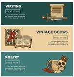 Insegne d'annata dei libri di poesia per la biblioteca della libreria o della libreria della cancelleria di scrittura illustrazione di stock