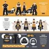 Insegne dei motociclisti messe Immagine Stock