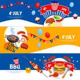 Insegne del BBQ di celebrazione di festa dell'indipendenza messe Immagine Stock