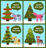 Insegne del buon anno con l'insieme punteggiato dell'albero del cucciolo Immagine Stock Libera da Diritti
