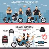 Insegne del club del motociclista messe Fotografia Stock Libera da Diritti