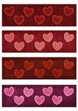 Insegne del cuore quattro del biglietto di S. Valentino Immagine Stock