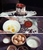 Insegne del fondo di cottura con gli ingredienti per frutta e choc Fotografie Stock Libere da Diritti
