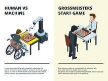 Insegne del gioco di scacchi I Gamers che giocano figure del gioco tattico del bordo alle varie rook la concorrenza dell'intellet illustrazione di stock