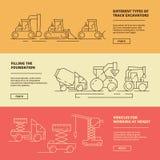Insegne del macchinario di costruzione Modello di sollevamento di progettazione di vettore della gru del bulldozer del camion del illustrazione vettoriale