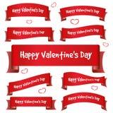 Insegne del nastro curve giorno di S. Valentino rosso Fotografia Stock