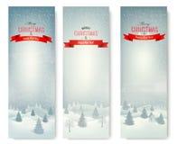Insegne del paesaggio di inverno di Natale. Fotografia Stock