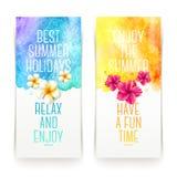 Insegne dell'acquerello di vacanze estive Fotografia Stock
