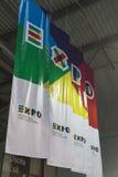 Insegne dell'Expo al pezzo 2015, scambio internazionale di turismo a Milano, Italia Fotografia Stock Libera da Diritti