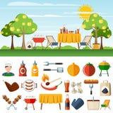 Insegne della composizione nelle icone di picnic del barbecue Immagini Stock Libere da Diritti