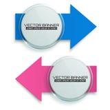 Insegne della freccia Cerchio di vetro con i segni variopinti Modello di Infographic Vettore Immagini Stock