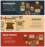 Insegne della libreria o della libreria dei libri d'annata della biblioteca di vettore, della spoletta dell'inchiostro e della ca illustrazione di stock