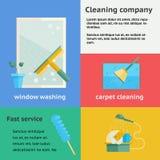 Insegne della società di pulizia messe Fotografia Stock Libera da Diritti