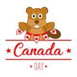 Insegne della tenuta del castoro Giorno del Canada Fotografia Stock Libera da Diritti
