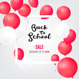 Insegne di acquisto di vendita Di nuovo alle icone di vendita della scuola Vettore del pallone e di vendita Etichetta di prezzi d Fotografia Stock