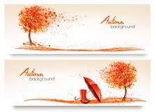 Insegne di autunno con gli alberi e gli stivali di pioggia e dell'ombrello royalty illustrazione gratis