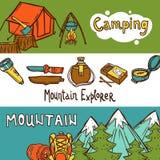 Insegne di campeggio orizzontali illustrazione vettoriale