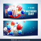 Insegne di festa dell'indipendenza - insieme di vettore Fotografia Stock Libera da Diritti