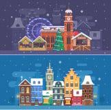 Insegne di festival della città e di inverno della neve royalty illustrazione gratis