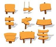 Insegne di legno in bianco del gioco messe Fotografia Stock