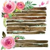 Insegne di legno con il fiore rosa Acquerello del fiore di Rosa Elemento decorativo di nozze Insieme di legno del pannello illustrazione vettoriale