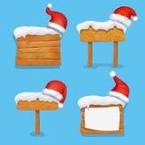 Insegne di legno di natale di inverno messe con il vettore del cappello di Santa royalty illustrazione gratis